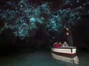 Boat through Waitomo Caves